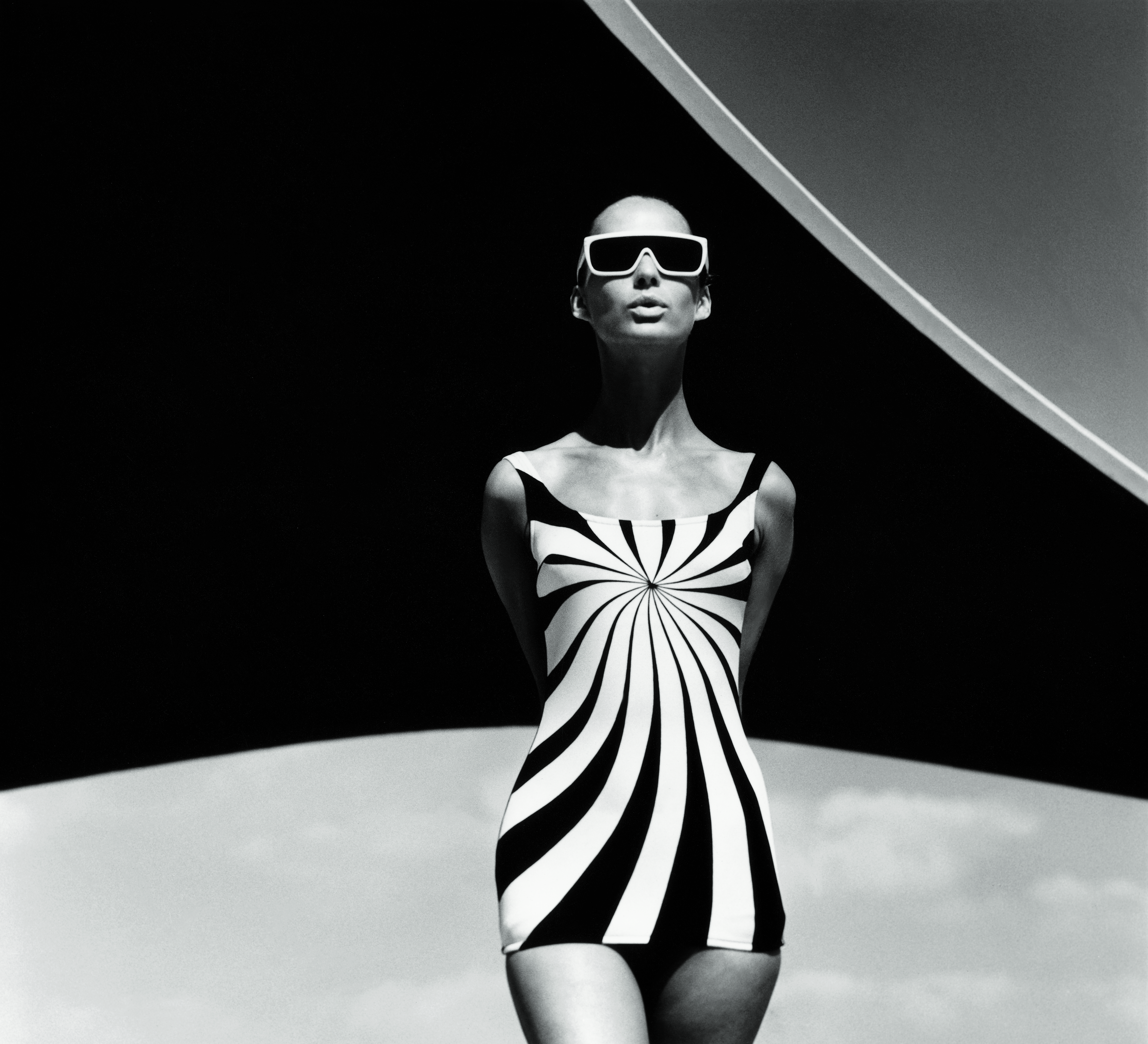 Brigitte Bauer Op Art bathing suit by Sinz F.C. Gundlach Vouliagmeni Greece 1966