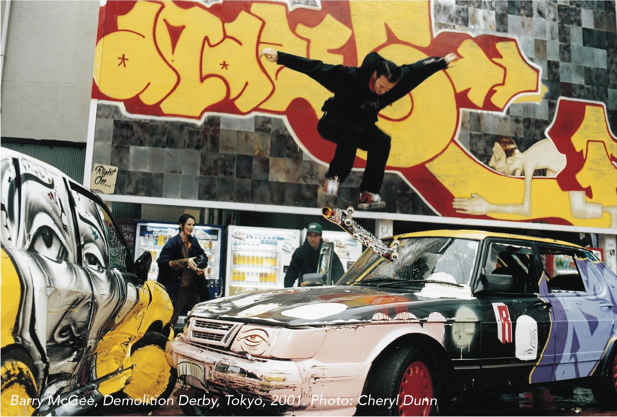 Barry McGee, Demolition Derby, Tokyo, 2001. Photo: Cheryl Dunn