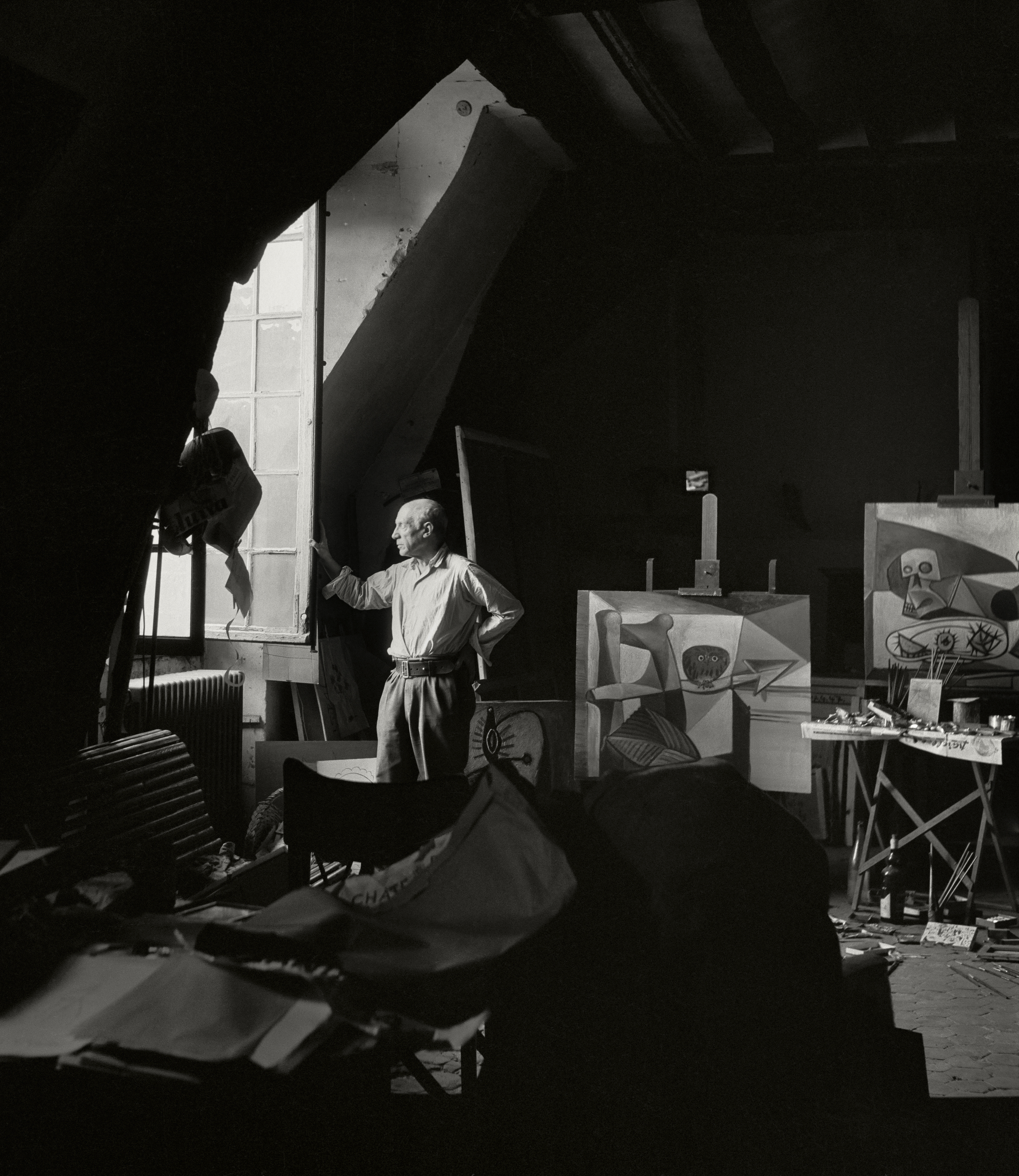 Pablo Picasso in the evening in his studio in Paris 1948 by Herbert List