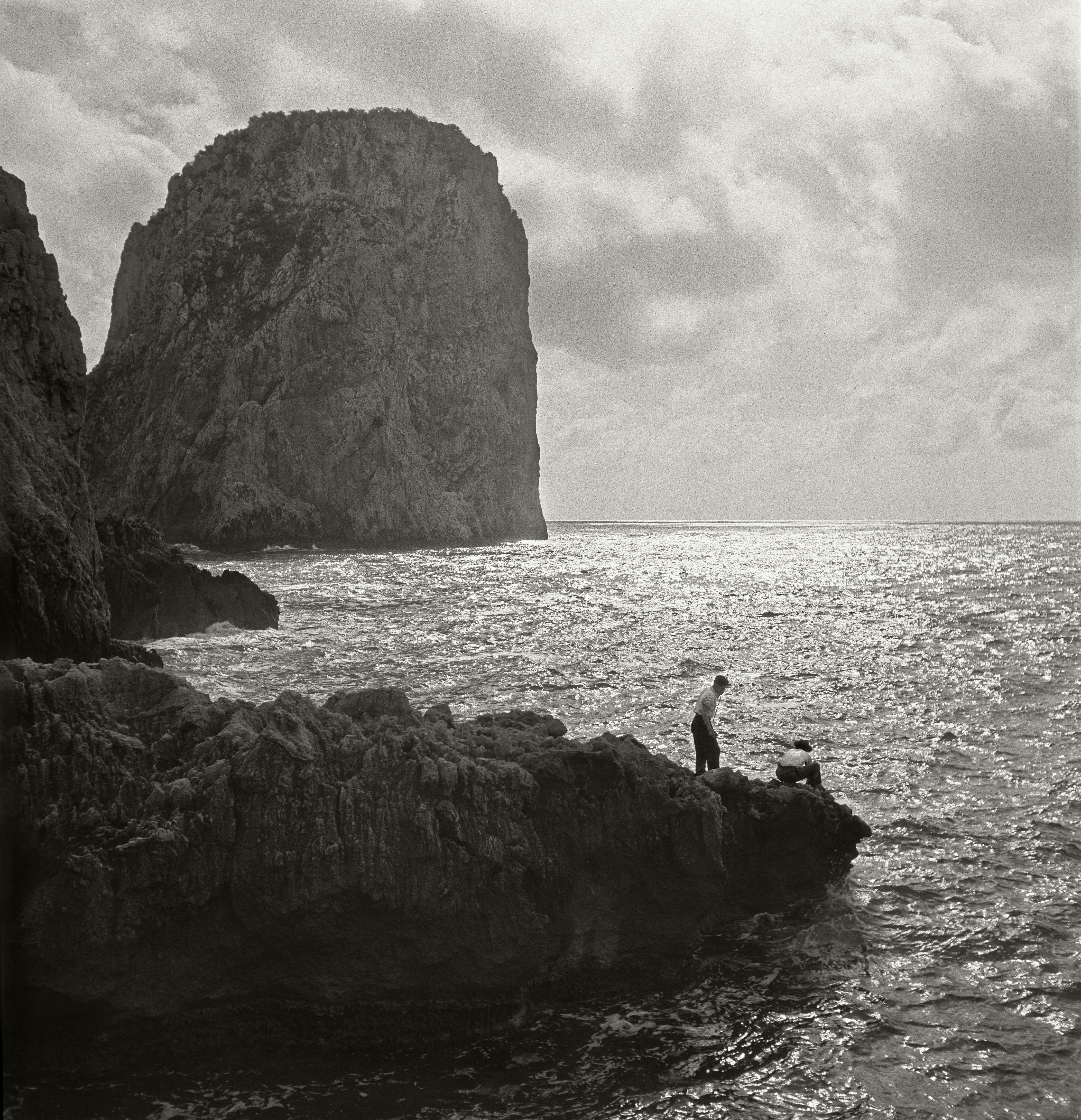 Line fishing in the evening sun Capri Italy 1933 by Herbert List