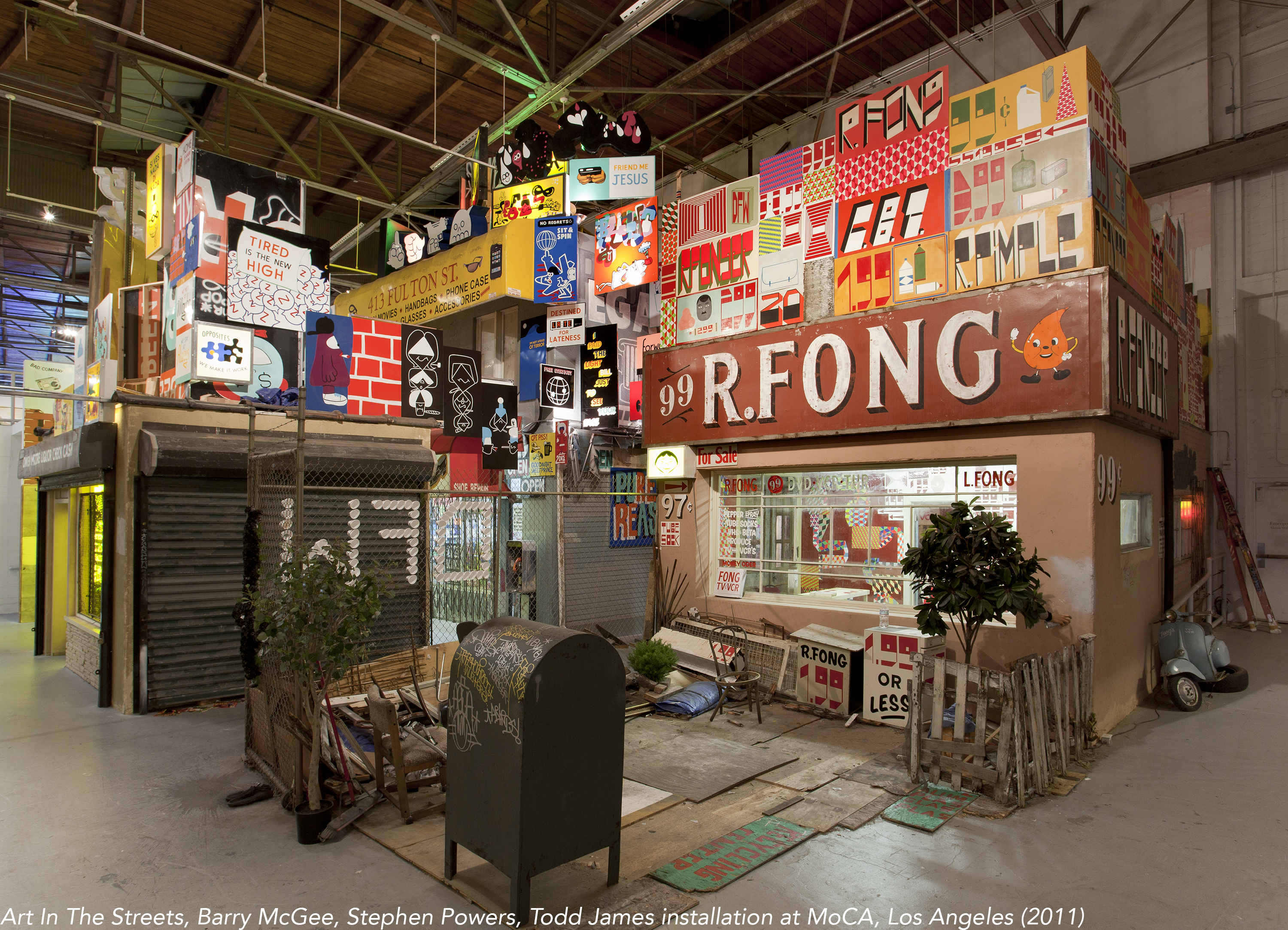 Art In The Streets, Barry McGee, Stephen Powers, Todd James installation at MoCA, Los Angeles (2011)